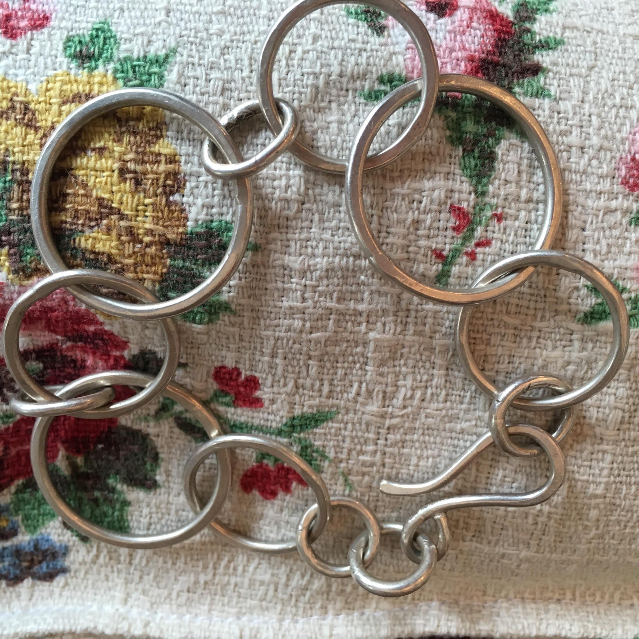 Silver wire circle bracelet