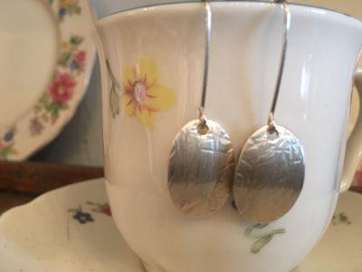 Oval drop silver earrings