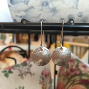 Circle silver textured drop earrings