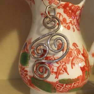 Large silver Celtic spiral pendant