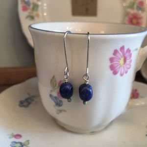 Silver Lapis drop earrings